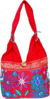 Womaniya Handicraft Flower Print Jhola Shoulder Bag Red