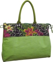 Earthbags Jute With Jungle Printed Patch With Zipper Closure Hand-held Bag Green