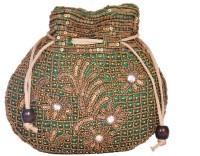 Domestiq Matka Beads Sequins Pouch Potli (Green)