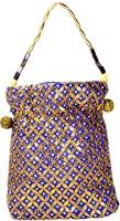 Arisha Kreation Co Traditional Gotta Patti Flower Design Pouch Potli Blue