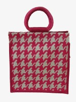 Jute Tree Jb247-Bricks Bag-Offwht-Dpnk Hand-held Bag (Offwhite, Dpink)