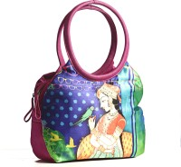 Aapno Rajasthan Royal Princess Digital Print Leather Hand-held Bag (Pink, Blue)