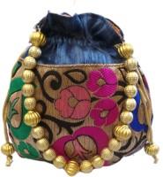 Bhamini Leaf Design Small Raw Silk Blue Pouch Potli Blue-01