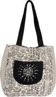 Pick Pocket Embroidered Jholi Shoulder Bag (Black, Off White)