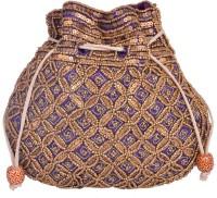 Domestiq Matka Beads Sequins Pouch Potli (Blue)