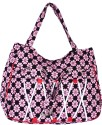 Samsara Cotton Canvas Floral Print Hand Bag - Pink & Black