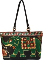 Shilpkart Ethnic Embroidery Hand-held Bag - Black