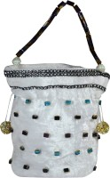 Arisha Kreation Co Beautiful Stones Studded Pull String Pouch Potli White