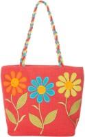 Jute Cottage 3 Flower Applique Work Shoulder Bag Red