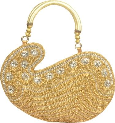 Freddys Ethnic Stone Work Hand-held Bag (Gold)