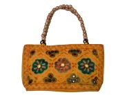 KwickDeal Ethnic Hand Embroidery With Moti Handle Hand-held Bag (Yellow-08)