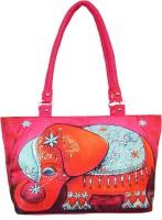 Shilpkart Digital Elephant Print Hand-held Bag - Pink