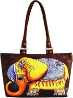 Shilpkart Digital Elephant Print Hand-held Bag Brown