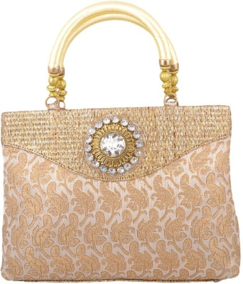 Freddys Ethnic Stone Work Hand-held Bag - Cream