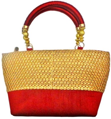 Bhamini Resham Handle Gold Sequinned Border Hand-held Bag Maroon-01