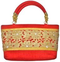 Bhamini Raw Silk Cutwork Hand-held Bag (Red-01)