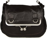 Goguava Leather Bag With Clasp Closure Sling Bag Brown
