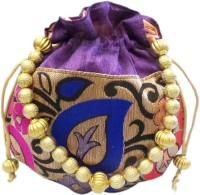 Bhamini Leaf Design Small Raw Silk Purple Pouch Potli (Purple-01)