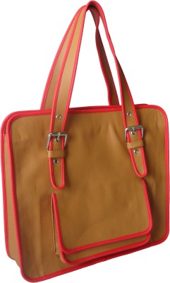 Toteteca Bag Works Piped Pocketed Tote Hand Bag - Tan::Red