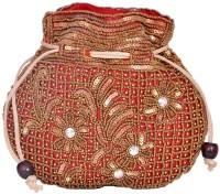 Domestiq Matka Beads Sequins Pouch Potli (Red)