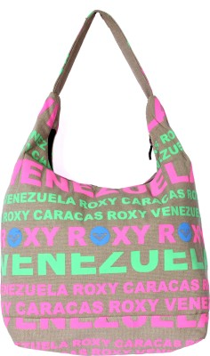 Samsara Canvas Alphabet Printed Hobo Bag - Pink & Green
