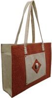Aveo Orange High Quality Jute Square Pocket Hand-held Bag Orange