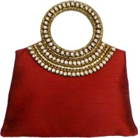 Bhamini Raw Silk Handbag With Brass And Diamond Rich Handle (Maroon) Hand-held Bag (Maroon-01)