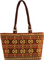 Shilpkart Unique Digital Tribal Printed Hand-held Bag Brown