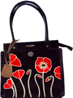 Arpera Flower Printed Genuine Leather C11340-1B Hand-held Bag - Black