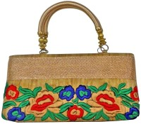 Bhamini Embroidered Raw Silk Ethnic Hand-held Bag - Gold-01