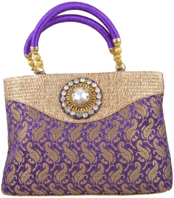 Freddys Ethnic Stone Work Hand-held Bag - Violet
