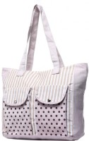 New Pearls Exotic Women Canvas Shoulder Bag (White)
