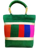 Bhamini Raw Silk With Multicolour Pleated Work Hand-held Bag Green-01
