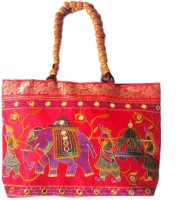 Ethnic Art Handcrafted Radiant Hand-held Bag Red