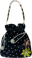 Arisha Kreation Co Stones Studded Antique Look Beads Strap Pouch Potli Black