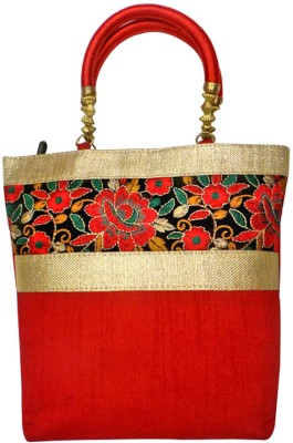 Bhamini Raw silk new edition Maroon Hand-held Bag Maroon-01