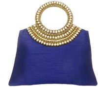 Bhamini Raw Silk Handbag With Brass And Diamond Rich Handle (Blue) Hand-held Bag (Blue-01)
