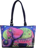 Shilpkart Digital Elephant Print Hand-held Bag (Blue)
