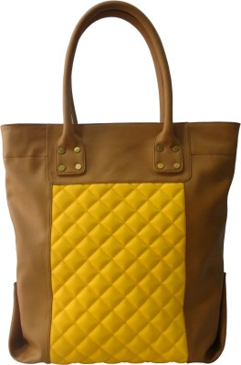 Toteteca Bag Works Tall Quilted Tote Hand Bag - Tan::Yellow