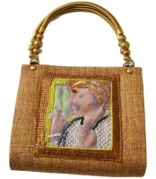 Fashion Jamun Jute Metal Handle Hand-held Bag - Brown