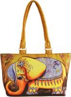 Shilpkart Digital Elephant Print Hand-held Bag Gold