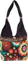Womaniya Handicraft Flower Print Jhola Shoulder Bag Black