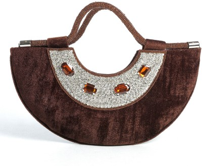 Aapno Rajasthan Velvet And Stone Crescent Moon Hand-held Bag - Deep Brown