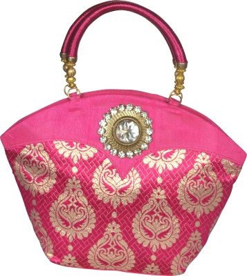 Freddys Ethnic Stone Work Hand-held Bag (Pink)
