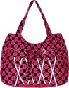 Samsara Cotton Canvas Floral Print Hand Bag - Pink & Black - HMBDTX5DJJATSWGJ
