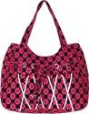 Samsara Cotton Canvas Floral Print Hand Bag - Pink & Black - HMBDTX5DJJATSWGJ