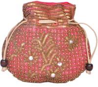 Domestiq Matka Beads Sequins Pouch Potli (Pink)