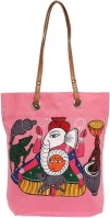Pranil Designs Hand Painted Pattachitra Art Of West Bengal-Ganesh Tote (Pink)