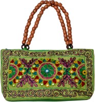 KwickDeal Ethnic Hand Embroidery With Moti Handle Hand-held Bag (Green-03)