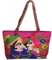 Kwickdeal Raja Raani Ethnic Hand Embroidered Shoulder Bag (Pink)